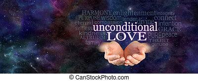 unconditional, felhő, szeret, szó