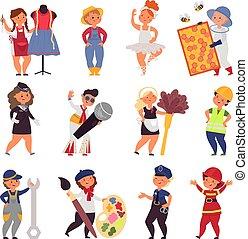 uniform., vektor, jelmez, foglalkozás, betűk, gyerekek, gyerekek, karikatúra, farmer, csinos, különböző, munka, illedelmes, profi, énekes, teens.