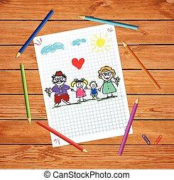 unokák, színes, nagyszülők, ábra, kéz, vektor, húzott, gyerekek