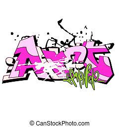 urban graffiti, háttér, művészet
