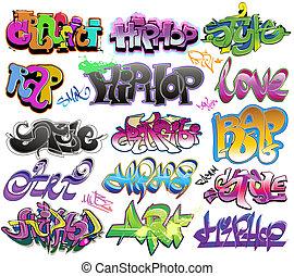 urban graffiti, vektor, művészet, állhatatos