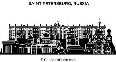urban parkosít, szent, épületek, evez, editable, építészet, épület, iránypont, láthatár, petersburg, oroszország, város, cityscape