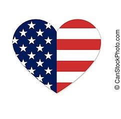 usa, alakít, lobogó, amerikai, szív