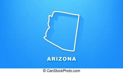 usa, arizona, szövetségi, animation., térkép, graphics., áttekintés, állam, indítvány