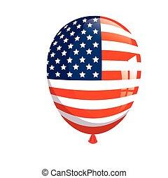 usa, fesztivál, dekoráció, fehér, amerikai, helium léggömb, háttér, lobogó