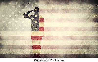 usa, kitevés, flag., tervezés, hazafias, megkettőz, grunge, tiszteleg, katona