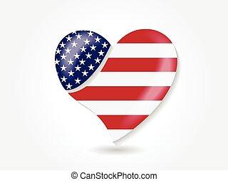 usa lobogó, jel, szeret, alakít, amerikai, szív, vektor