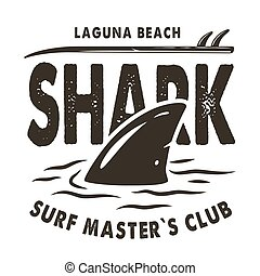 uszony, szörfözás, nyomtat, lenget, cápa, nyár