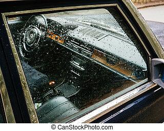 utas autó, pohár, befedett, esőcseppek, lejtő