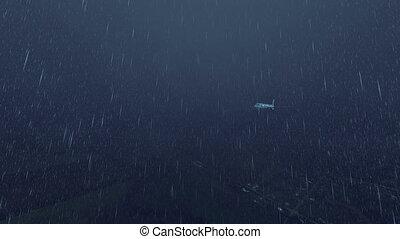 utas, esős, ég, utasszállító repülőgép, 4k, éjszaka