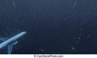 utas, esős, repülés, ég, 4k, éjszaka, repülőgép