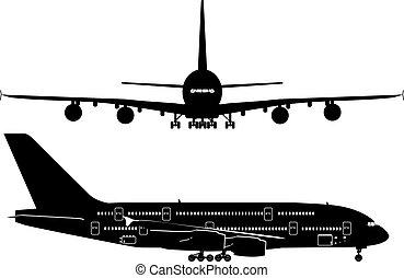 utas, körvonal, sugárhajtású repülőgép
