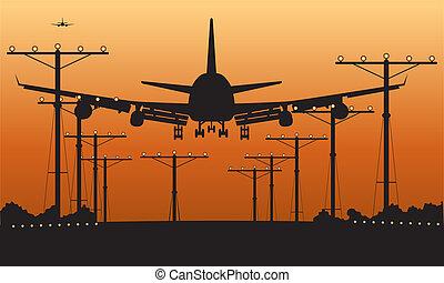 utasszállító repülőgép, leszállás, napnyugta
