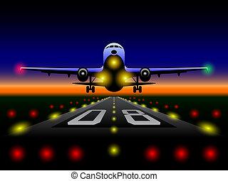 utasszállító repülőgép, napnyugta, leszállás