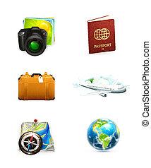 utazás, állhatatos, ikon