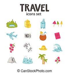 utazás, állhatatos, ikonok