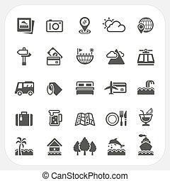 utazás, állhatatos, szünidő, ikonok