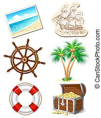 utazás, állhatatos, tenger, ikonok