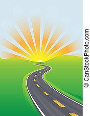 utazás, ég, reggel, világos jövő, autóút