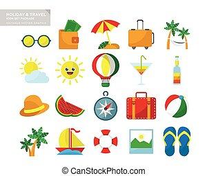 utazás, ünnep, állhatatos, ikon, csomag
