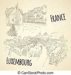 utazás, annecy., város, sketching., franciaország, művészet, állhatatos, vektor, egyenes, idegenforgalom, card., luxembourg., silhouette., illustration., concept.
