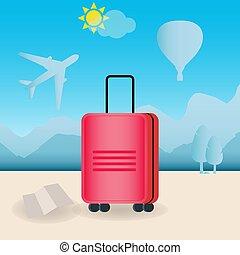 utazás, bőrönd, piros
