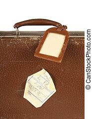 utazás, címke, retro, bőrönd
