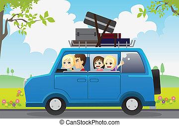 utazás, család