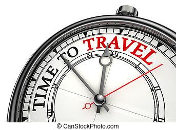 utazás, fogalom, idő óra