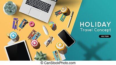 utazás, fogalom, szünidő, háttér