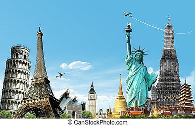 utazás, fogalom, világ