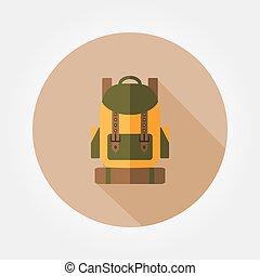 utazás, hátizsák, icon.