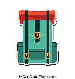 utazás, hátizsák, ikon