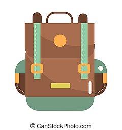 utazás, hátizsák, karikatúra