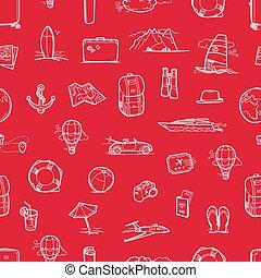 utazás, húzott, háttér, kéz, vektor, seamless, doodles