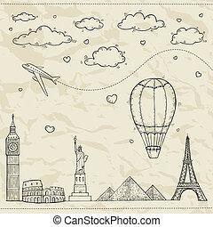 utazás idegenforgalom, illustration.