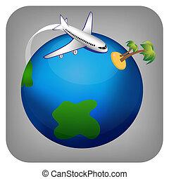 utazás, ikon, repülőgép, vektor
