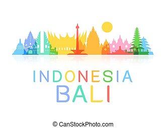 utazás, indonézia, landmarks.