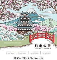 utazás, japán, bájos, poszter