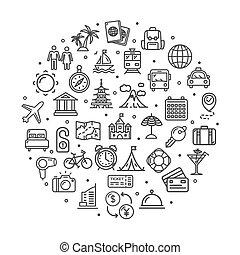 utazás, kerek, vektor, tervezés, híg, sablon, cégtábla, egyenes, concept., ikon