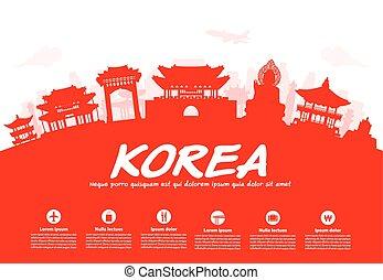 utazás, korea, landmarks.