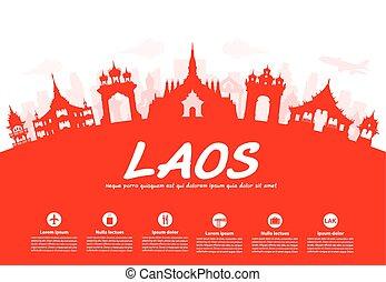 utazás, landmarks., laosz