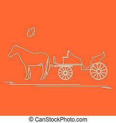 utazás, leaf., tölgy, ábra, kocsi, vektor, leisure., lóvontatású