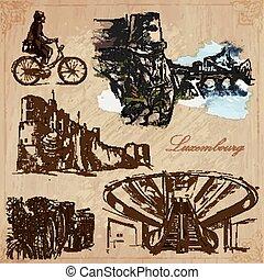 utazás, -, luxemburg, kéz, vektor, húzott, konzervál