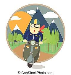 utazás, motorkerékpár, ember