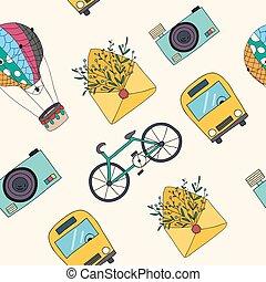 utazás, pattern., seamless, kéz, vektor, húzott