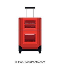 utazás, piros, bőrönd