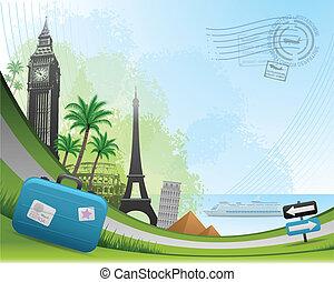 utazás, postai, kártya, háttér