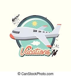 utazás, repülés, szünidő, repülőgép