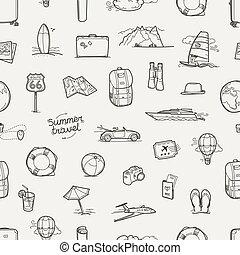 utazás, seamless, kéz, vektor, háttér, húzott, doodles